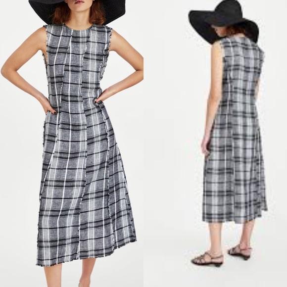 d9ba6cfd Zara Dresses | Nwt Black White Plaid Checkered Linen Midi | Poshmark